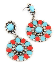 Earring E 100044 TRQ RED