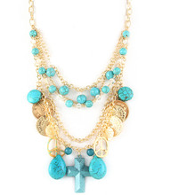 Necklace N 15115 GLD TURQ