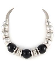 Necklace  N 675001-12 SLV BLK