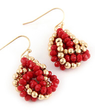 Earrings  E 0004 GLD RED