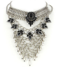Necklace N 30316 SLV BLK