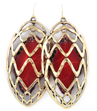 Earrings  E 1572 GLD RED