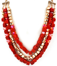 Necklace N 3591 GLD RED