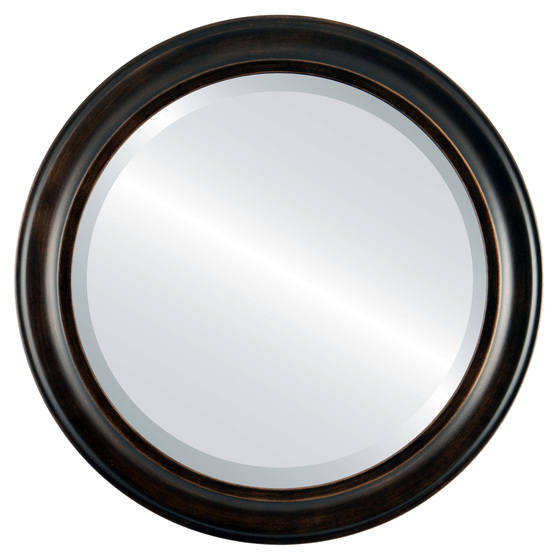 beveled mirror messina round frame rubbed bronze - Mirror With Black Frame