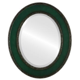 Beveled Mirror - Paris Oval Frame - Hunter Green
