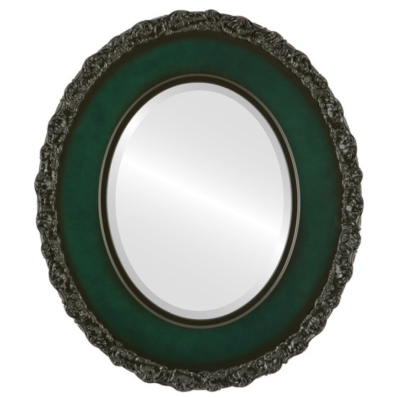 Beveled Mirror - Williamsburg Oval Frame - Hunter Green