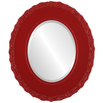 Beveled Mirror - Williamsburg Oval Frame - Holiday Red
