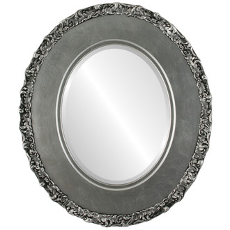 Beveled Mirror - Williamsburg Oval Frame - Silver Leaf with Black Antique