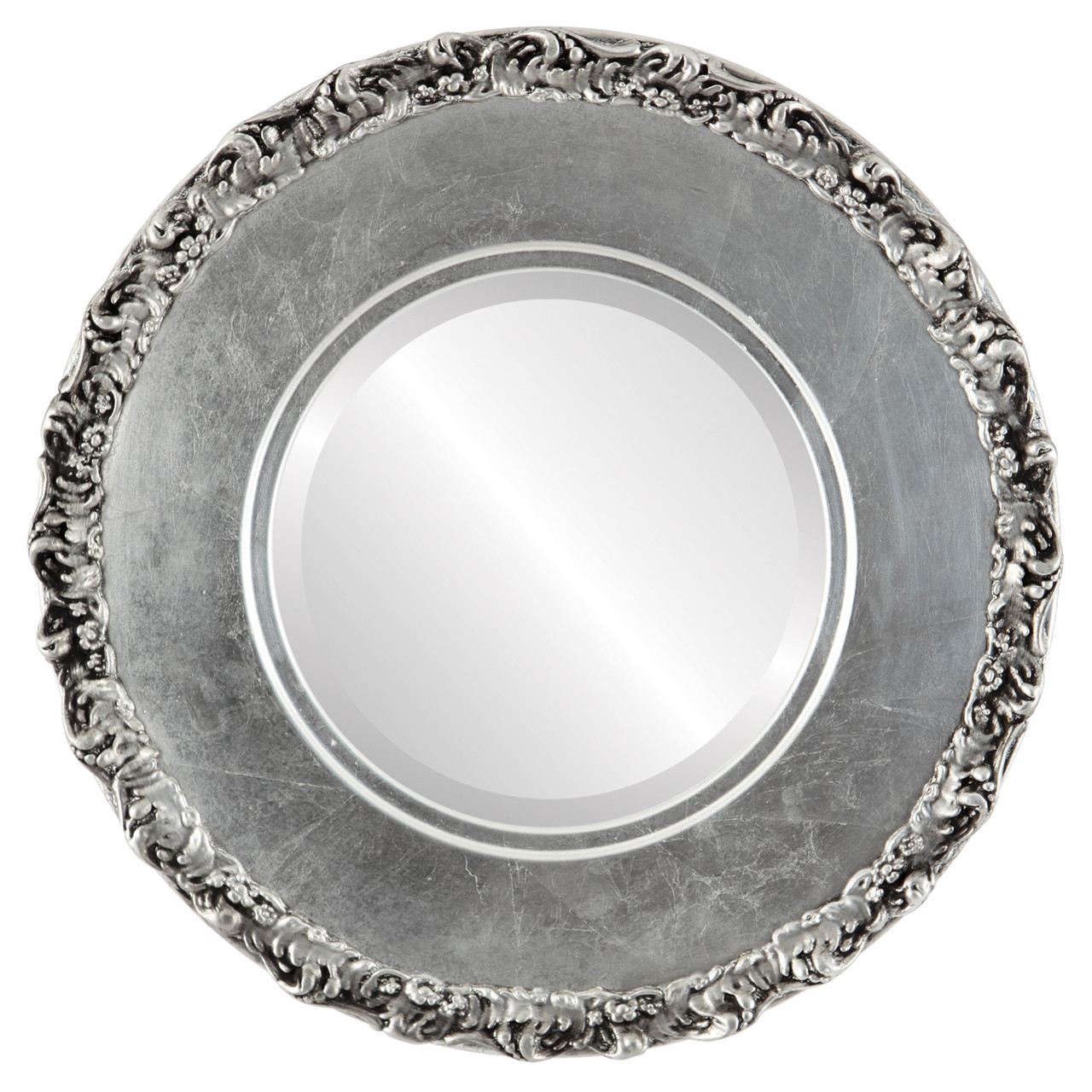 Antique silver round mirrors from 153 free shipping Round framed mirror
