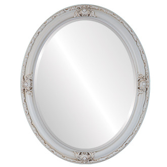Beveled Mirror - Jefferson Oval Frame - Antique White