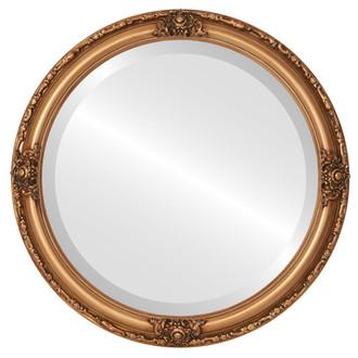 Beveled Mirror - Jefferson Round Frame - Gold Paint
