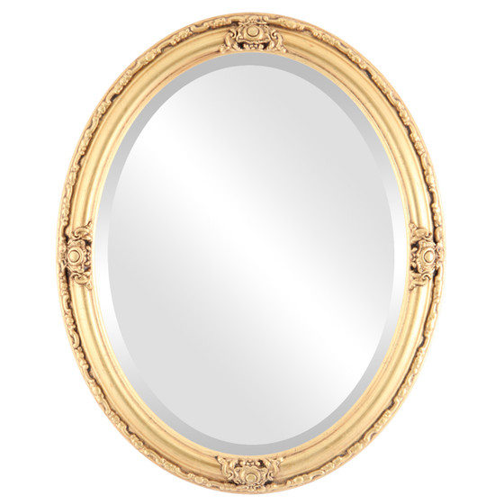 Oval mirror gold frame