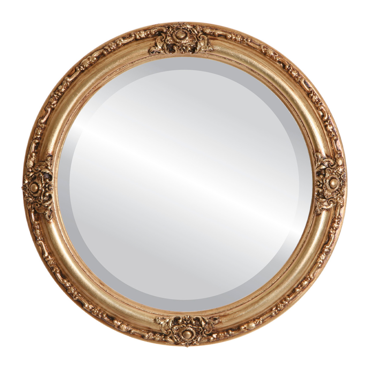Antique gold round mirrors from 164 free shipping for Circle mirror