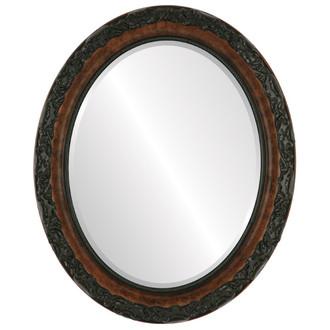 Beveled Mirror - Rome Oval Frame - Burlwood