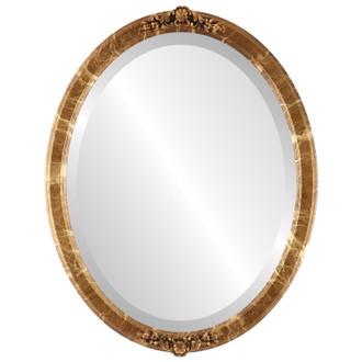 Beveled Mirror - Athena Oval Frame - Champagne Gold