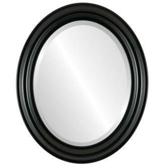 Beveled Mirror - Philadelphia Oval Frame - Gloss Black
