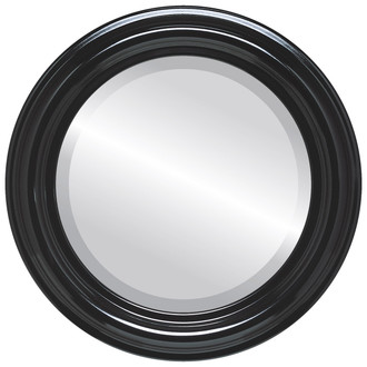 Beveled Mirror - Philadelphia Round Frame - Gloss Black