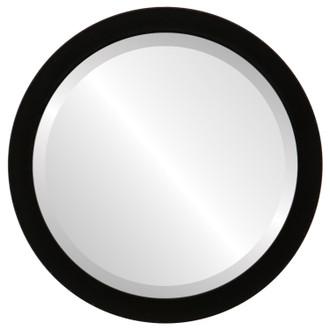 beveled mirror manhattan round frame matte black