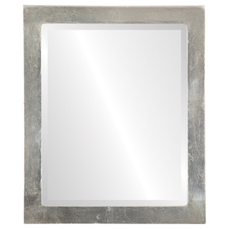 Beveled Mirror - Vienna Rectangle Frame - Silver Leaf with Brown Antique