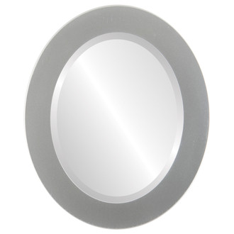 Beveled Mirror - Cafe Oval Frame - Bright Silver