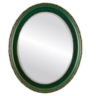 Beveled Mirror - Kensington Oval Frame - Hunter Green