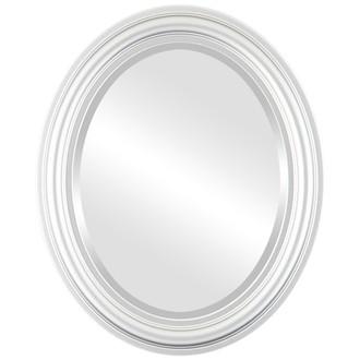 Beveled Mirror - Philadelphia Oval Frame - Silver Spray