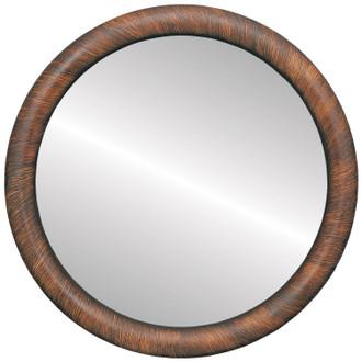 Beveled Mirror - Pasadena Round Frame - Vintage Walnut