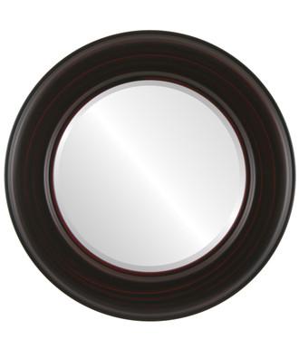 Beveled Mirror - Marquis Round Frame - Black Cherry