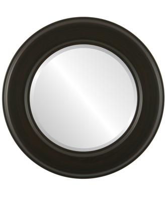 Beveled Mirror - Marquis Round Frame - Black Walnut