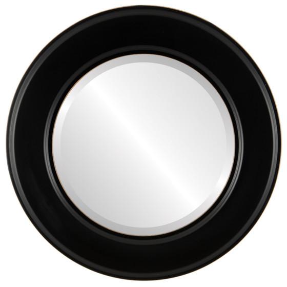 Beveled Mirror - Marquis Round Frame - Matte Black