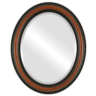 Beveled Mirror - Philadelphia Oval Frame - Vintage Walnut