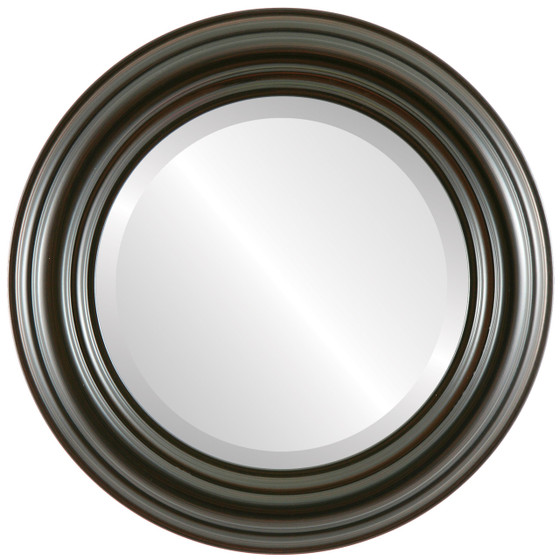 Beveled Mirror - Regalia Round Frame - Black Walnut