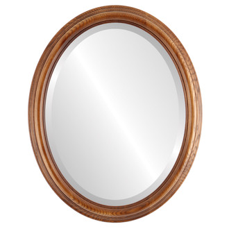 Beveled Mirror - Melbourne Oval Frame - Toasted Oak