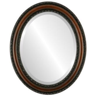 Beveled Mirror - Dorset Oval Frame - Walnut