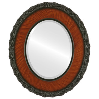 Beveled Mirror - Williamsburg Oval Frame - Vintage Walnut