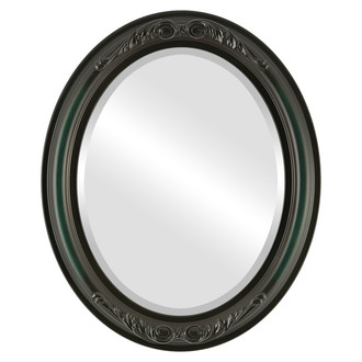 Beveled Mirror - Florence Oval Frame - Hunter Green