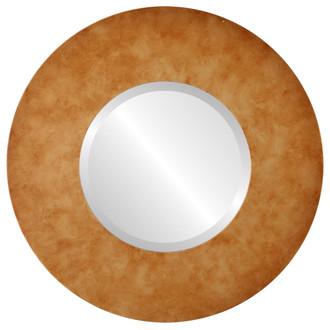 Beveled Mirror - Tribeca Round Frame - Burnished Gold
