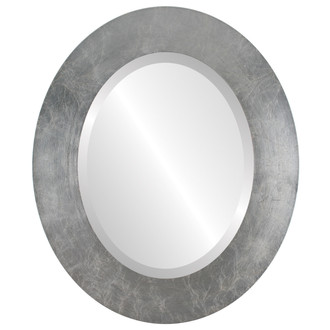 Beveled Mirror - Ashland Oval Frame - Silver Leaf with Brown Antique