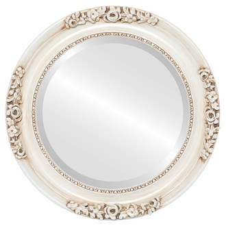 Beveled Mirror - Versailles Round Frame - Antique White