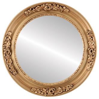 Beveled Mirror - Versailles Round Frame - Gold Paint