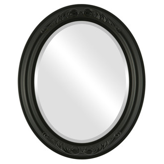 Beveled Mirror - Florence Oval Frame - Matte Black