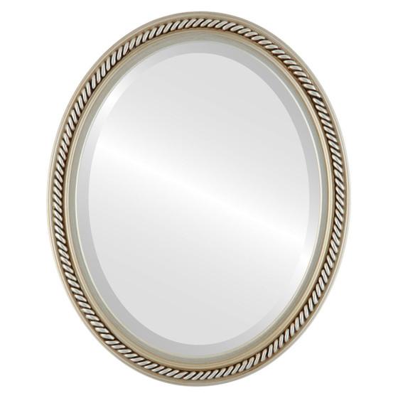 Beveled Mirror - Santa Fe Oval Frame - Silver