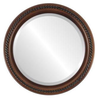 Beveled Mirror - Santa Fe Round Frame - Walnut