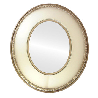 Framed Oval Mirror in White with Decals