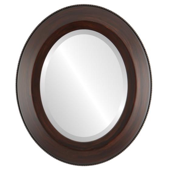 Beveled Mirror - Lombardia Oval Frame - Mocha