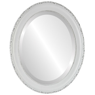 Beveled Mirror - Kensington Oval Frame - Linen White