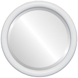 Beveled Mirror - Pasadena Round Frame - Linen White