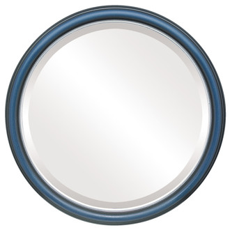Beveled Mirror - Hamilton Round Frame - Royal Blue with Silver Lip
