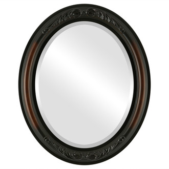 Beveled Mirror - Florence Oval Frame - Walnut