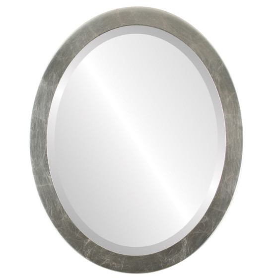 Beveled Mirror - Vienna Oval Frame - Silver Leaf with Brown Antique